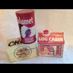 Lot of 3 Vintage cooking storage advertising tins